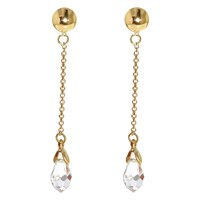 Finesse Swarovski Crystal Chain Drop Clip On Earrings Gold