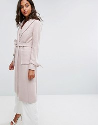 Lipsy Long Gery Coat Nude Pink