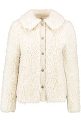 See By Chloe Canvas Trimmed Faux Shearling Jacket Off White