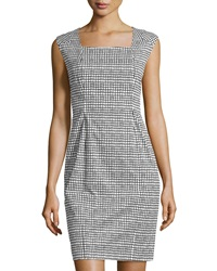 Lafayette 148 New York Square Neck Cap Sleeve Dress Black Multi