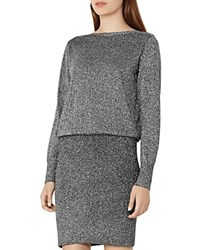 Reiss Blossom Metallic Blouson Dress Gunmetal