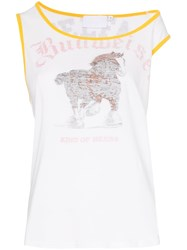 Telfar Horse Print Off Shoulder Cotton Tank Top White