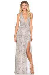 Norma Kamali Halter Wrap Maxi Dress Gray
