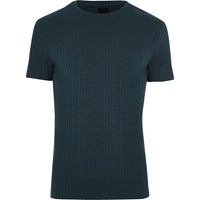 River Island Navy Chunky Rib Muscle Fit Crew Neck T Shirt