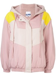 Sjyp Hooded Panelled Jacket Pink