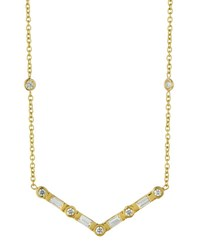 Penny Preville 18K Emerald Cut And Round Diamond V Station Necklace