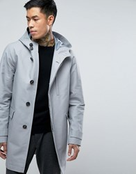 Asos Shower Resistant Trench Coat With Hood In Grey Grey