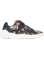 Christian Dior Homme Printed Panel Sneakers Leather Canvas Rubber Black