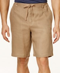 Tasso Elba Men's Linen Drawstring Shorts Only At Macy's Safari Tan