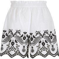 River Island White Floral Embroidered Shorts
