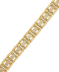 Macy's Men's Two Tone Link Bracelet In 10K Gold Yellow Gold