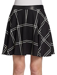 Saks Fifth Avenue Red Plaid Ponte Swing Skirt Black White