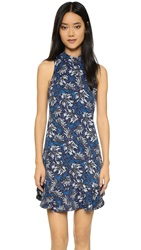 Rebecca Taylor Mystic Mock Neck Sleeveless Dress Navy