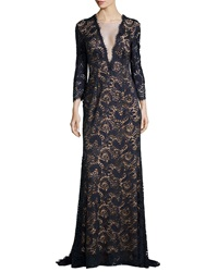 Jovani Deep V Illusion Beaded Lace Gown