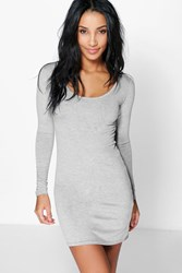 Boohoo Long Sleeve Scoop Neck Bodycon Dress Grey
