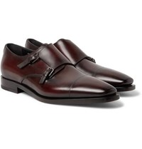Berluti Cap Toe Polished Leather Monk Strap Shoes Merlot