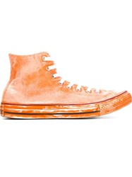 Converse Painted Effect High Top Sneakers Yellow And Orange