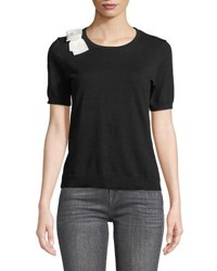 Cynthia Steffe Short Sleeve Bow Shoulder Sweater Black