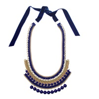 Margot And Me Crochet Necklace Erin In Navy Gold Blue