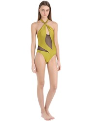 Emiliano Rinaldi Net And Lycra One Piece Halter Swimsuit