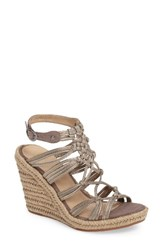 Johnston And Murphy Women's Mindy Woven Wedge Sandal Pewter Suede