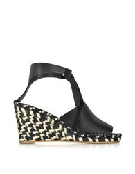 Proenza Schouler Black Leather Wedge Peeptoe Espadrille