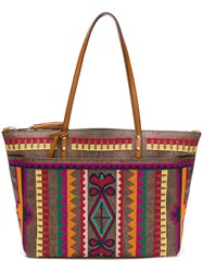 Etro Embroidered Tote Bag Brown
