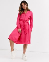 Na Kd Satin Dress In Neon Pink