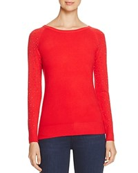 Lush Rhinestone Sleeve Sweater Compare At 66 Cavell Red