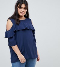 Lovedrobe Cold Shoulder With Ruffle Detail Blouse Navy