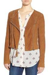 Women's Paige Denim 'Tiana' Crop Suede Moto Jacket Saddle Brown