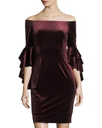 Tahari By Arthur S. Levine Off The Shoulder Velvet Midi Dress Red