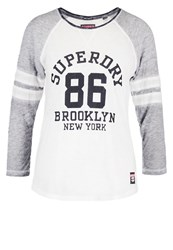 Superdry Brooklyn Long Sleeved Top Fresh Grey Marl Optic White