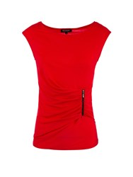 Morgan Zipped Detail Ruched Top Red