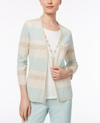 Alfred Dunner Petite Layered Look Necklace Sweater Tan