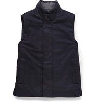 Faconnable Quilted Wool Flannel Gilet Blue