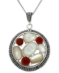 Genevieve And Grace Sterling Silver Necklace Marcasite Carnelian 1 1 5 Ct. T.W. And Mother Of Pearl 8 5 8 Ct. T.W. Pendant
