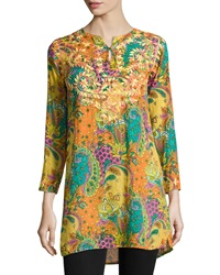Raj Dali Paisley Long Sleeve Tunic Orange