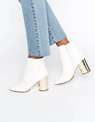 London Rebel Round Heel Boot With Gold Mirror Heel Cream Pu White