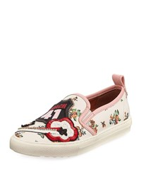 Coach Route 41 Floral Embellished Sneaker Chalk Orange N9a