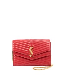 Saint Laurent Sulpice Double Flap Crossbody Wallet On A Chain Red