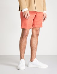 Slowear Slim Fit Linen And Cotton Blend Chino Shorts Orange