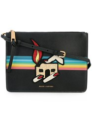 Marc Jacobs Printed Patch Pouch Women Cotton Calf Leather Pvc One Size Black