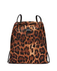 Christian Louboutin Leopard Print Nylon Drawstring Backpack With Leather Trim Brown