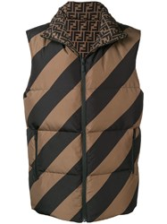 Fendi Reversible Quilted Gilet Brown