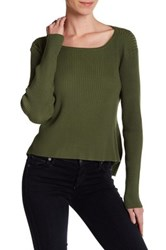Cullen Flounce Back Rib Pullover Green