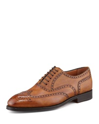 Bontoni Libertino Wing Tip Oxford Tan Tan 44.5 11.5D