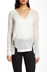L.A.M.B. Laced Up V Neck Sweater White
