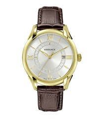 Versace 42Mm Apollo Watch W Calfskin Leather Strap Golden Silvertone Brown