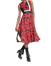 Tracy Reese Placement Floral Fit And Flare Dress Red Floral